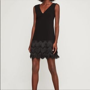 BCBGMAXAZRIA Black Fringe Shift Dress, Size 0